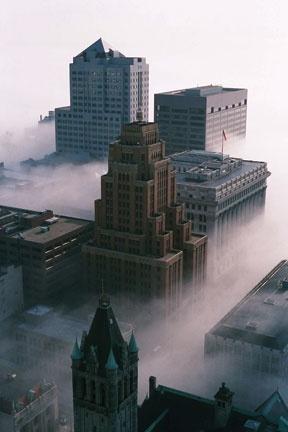Downtown Milwaukee fog