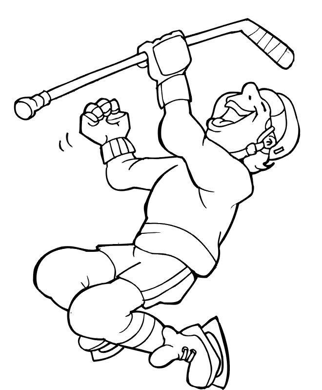 hockey coloring page  player celebrating