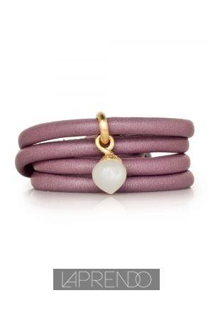 Ole Lynggaard Copenhagen White Moonstone Cabochon Dew Drop with Lavender Leather Bracelet