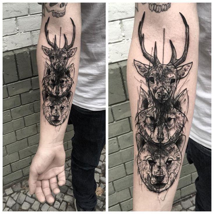 """""""#deer#bear#wolf#sketch#berlin#berlintattoo#blackwoork#. @akaberlin  Appointments xkotkotx@gmail.com"""""""