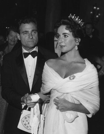 Elizabeth Taylor with husband Mike Todd in Cannes, 1957