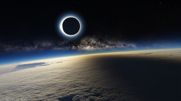 Solar eclipse from orbit earthporn