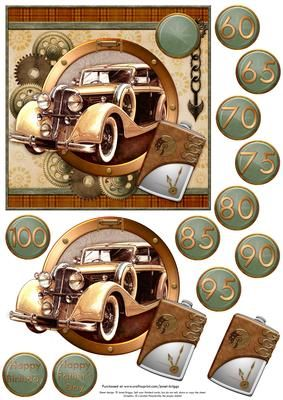 STEAMPUNK BROWN GOLD CAR with ages Topper Decoupage on Craftsuprint designed by Janet Briggs - Vintage car, with travel flask, in steampunk style.Card topper, decoupage, sentiment tags with ages, 60, 65, 70, 75, 80, 85, 90, 95, 100 and Happy Birthday or Happy Father's Day.Suitable for a wide variety of male occasions. - Now available for download!