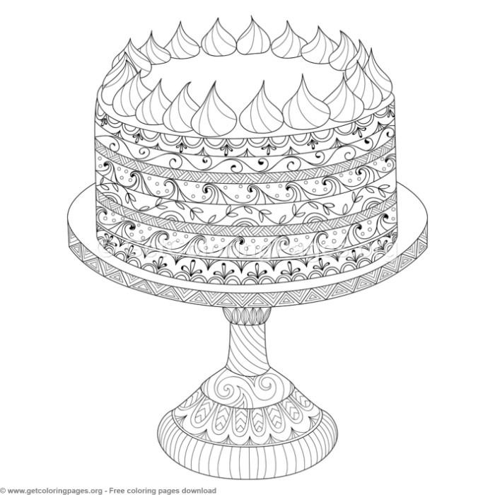 6 Zentangle Doodle Cake Coloring Pages Free To Download Coloring Coloringbook Coloringpages Doodle Cake Drawing Coloring Pages Coloring Books