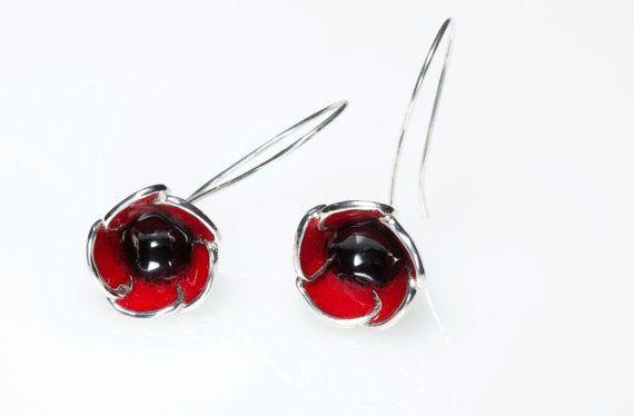 Sterling Silver #Earrings, #RedPoppy,Enamel Earrings,Botanical Jewelry, Nature Inspired, Hook Earrings,Spring Earrings, Giampouras Collections €98.00 EUR