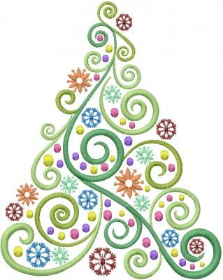 Christmas Tree Swirl embroidery design - (window cling design)