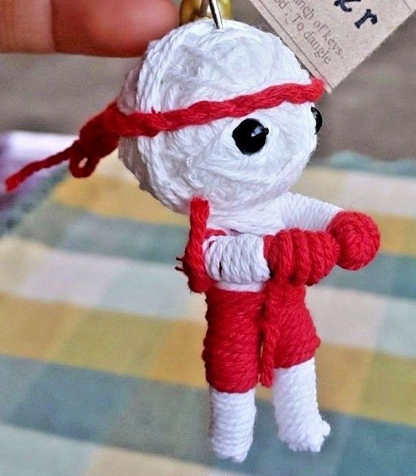Handmade Muay Thai Boxer KeyChain Toy Collectibles Accessories Red-White #Handmade