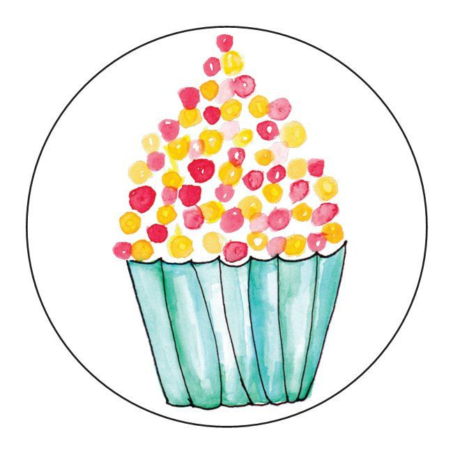 Red Yellow Cupcake Stickers - 1 Sheet of 24 by OrangePeelPaperie on Etsy