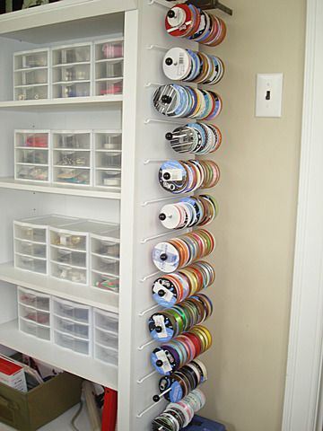 shelves and ribbon storage...