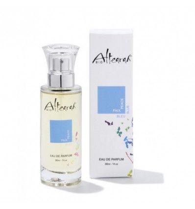 Eau de parfum Bleu Paix Altearah Bio, certifiée vegan, bio à 98%, flacon en verre 30ml