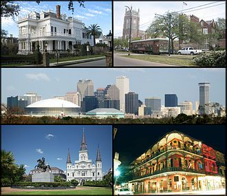 New Orleans. From top left: A typical New Orleans mansion off St. Charles Avenue, a streetcar passing by Loyola University and Tulane University, the skyline of the Central Business District, Jackson Square, and a view of Royal Street in the French Quarter.