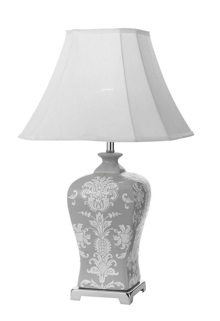 Features Dono 35 Table Lamp Finishes Chrome And Grey White Floral Base