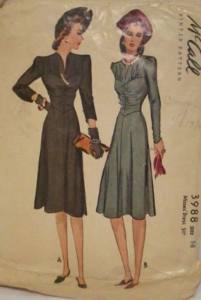 McCall 3988: Misses' dress pattern from 1940