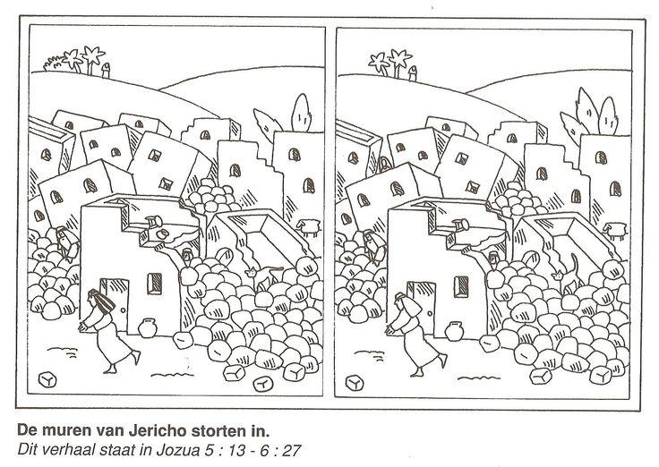 de muren van Jericho storten in zoek de 10 verschillen
