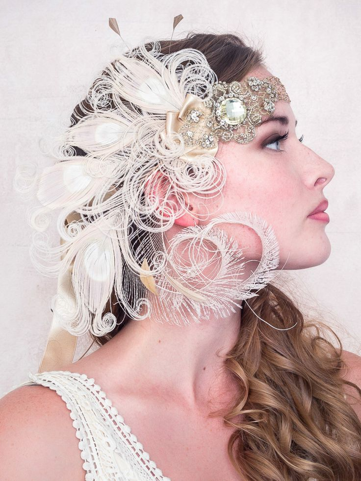 Antique Gold Nymph Ivory Peacock Feather Flapper Headband : Bridal : Deanna DiBene Millinery