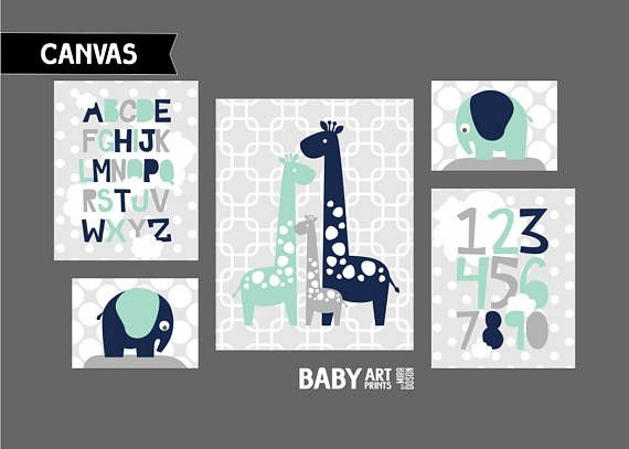 Mint Grey Navy Boy Nursery canvas nursery wall art prints