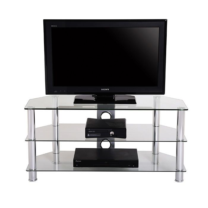 Fenge Glass TV Stand With 3-tiers Shelf for 32-46 Inch Television Clear/Silver #Fenge #Morden