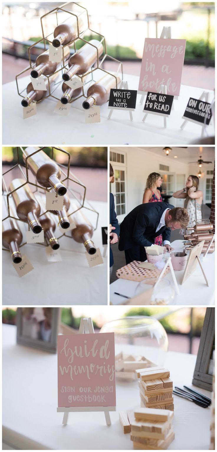 Unique Wedding Guest Book Ideas | Jenga Guest Book | Message in a Bottle | Woman's Club of Portsmouth | Rowlands Photography