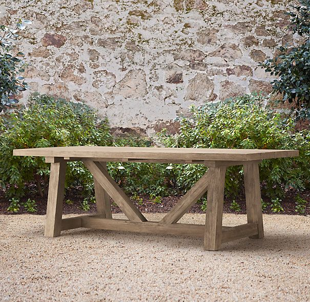 Great french country provence beam table restoration for Restoration hardware outdoor dining
