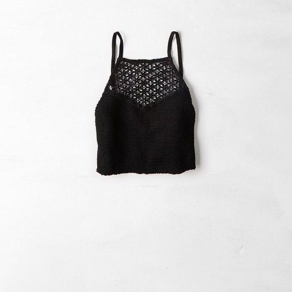 American Eagle Lace Halter Crop Top Super cute halter crop top from American Eagle. Stretchy & comfortable. Only selling because it's too large on me. New! Never worn! American Eagle Outfitters Tops Crop Tops