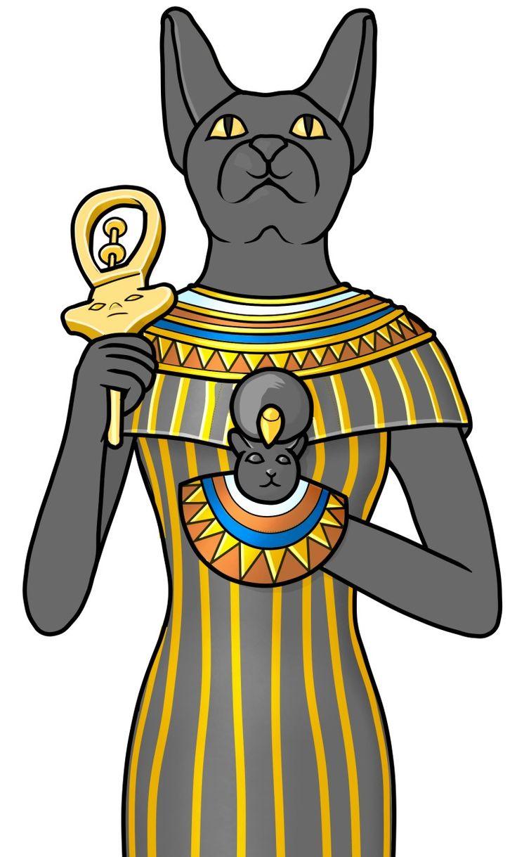 楽器のイラスト:シストルム(シストラム)を持つバステト。  バステト(Bastet)は 古代エジプト神話の女神。猫の姿をしており、手にはシストルムを持っている。