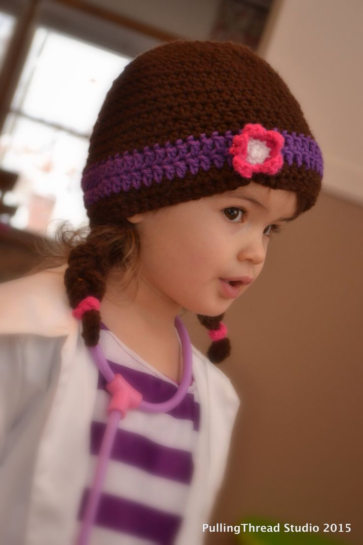 PATTERN - Doc Hat with Headband and Pigtails by PullingThreadStudio on Etsy https://www.etsy.com/listing/220319841/pattern-doc-hat-with-headband-and