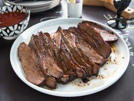 Smoked Pork Brisket from Dinner at Tiffani's Brady's Birthday Bash episode via CookingChannel.