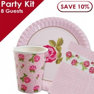 Vintage Rose Party Kit for 8 Guests