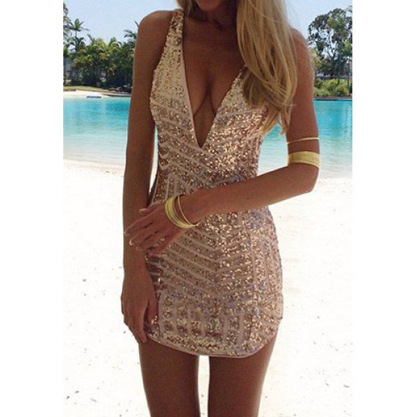 Sexy Plunging Neck Sleeveless Sequined Bodycon Women's Dress, GOLDEN, L in Bodycon Dresses | DressLily.com