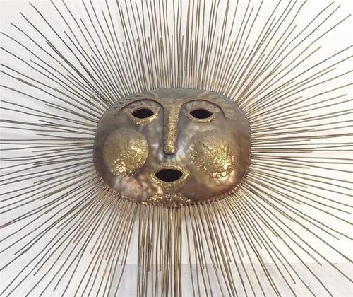 mid century modern brutalist sunburst emaus brass wall sculpture