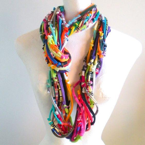 Multicolor Knotty Bits Cowl Upcycled Clothing Boho por LovelySquid