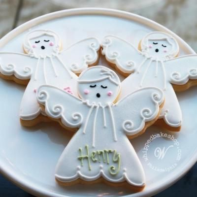 Singing Angel Cookie Favors by #whippedbakeshop http://whippedbakeshop.com