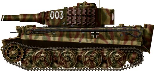"""Tiger of Hauptmann Michael Wittmann, Last Tiger of Hauptsturmfuehrer (captain) Michael Wittman, one of greatest tank aces of WWII, belonging to the Schwere SS. Panzer Abteilung 101. He and his crew were killed on August, 8, 1944 approximately 1 km near Cinteaux, France, presumably by a flank-firing British Sherman Firefly from the the """"A"""" squadron, 1st Norhtamptonshire Yeomanry (part of the 33rd independent armored brigade)."""