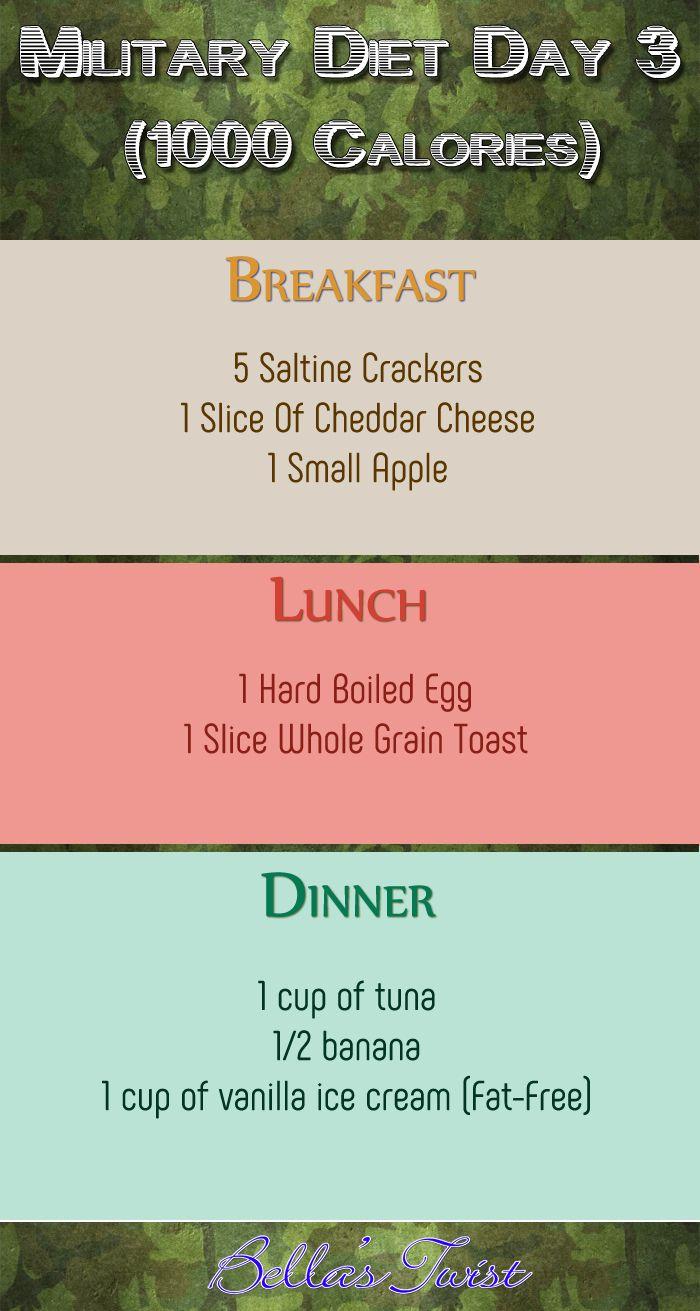 Military Diet Day 3 (1000 calories). See: Military Diet – Most Complete Resource On Internet  #MilitaryDiet #Diet #DietThatWorks #DietPlan #Weightloss #WeightlossPlan #LoseWeight #LoseWeightByEating #weightlosshelp