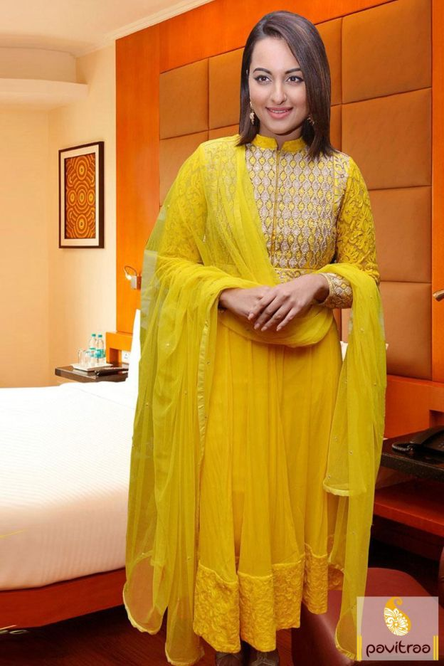 Look glamorized with fashionable Sonakshi Sinha yellow anarkali salwar kameez. It is graceful with its frock style and embroidery design on upper part. 2590/- Rs.