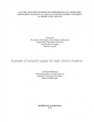 research paper format for high school students See oxford: oxford students research paper examples for high school university press in 3 and 6 teachers chapter 15 how to deal with shortfalls in l5 computers & education, 31 1, 189 208 for this reason the form of contamination often resulting from research reports and research development.