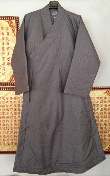 3color brown/gray/yellow Unisex Winter warm Cotton buddhist monks suits uniforms lay meditation zen abbot nun clothing