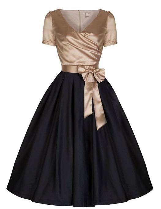 Gina Vintage Glamourous Black Gold Tea Party Dress
