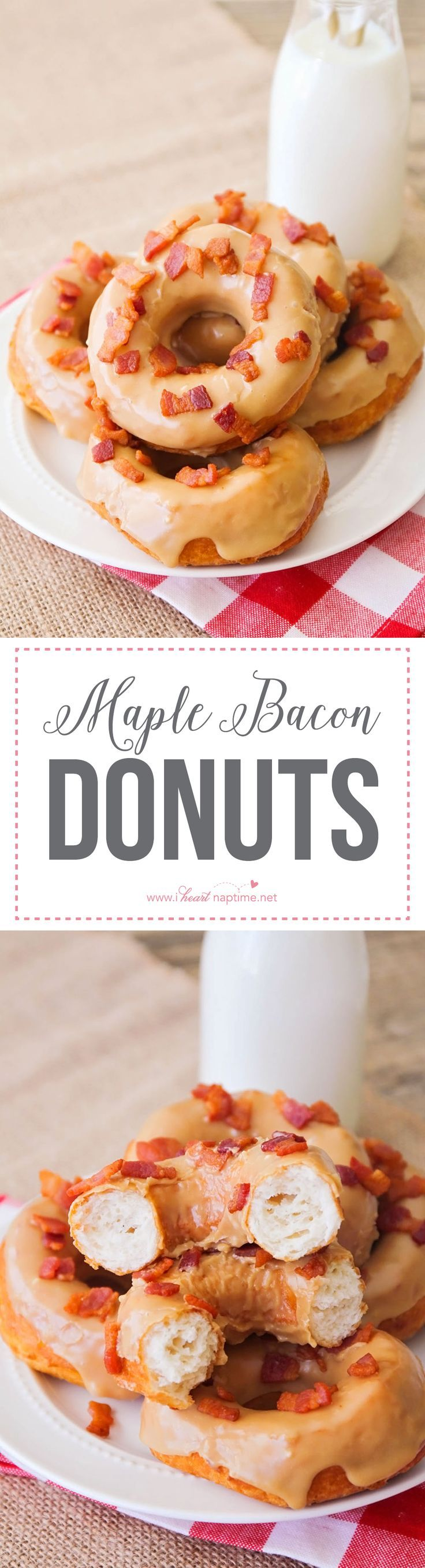 Maple bacon donuts - these delicious sweet and savory donuts are so easy to make and ready in under thirty minutes!