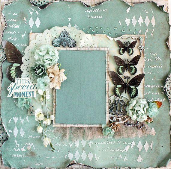 Premade Vintage Style 12x12  Scrapbook Layout, Prima, Petaloo, Kasiercraft, Blue Fern Studios