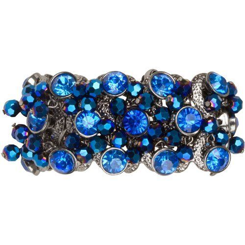 "Stunning Adjustable Peacock Blue and Hematite Cha Cha Bracelet Macrame Heirloom Finds. Save 56 Off!. $21.99. Add a pop of brilliant color to your day!. Stack with other bracelets for a bold look!. Trendy macrame bracelets are a hot pick for the season!. Makes a Great Gift. Arrives Gift Boxed!. The bracelet can be adjusted from 6"" to 10"" and is 1 1/4"" wide."