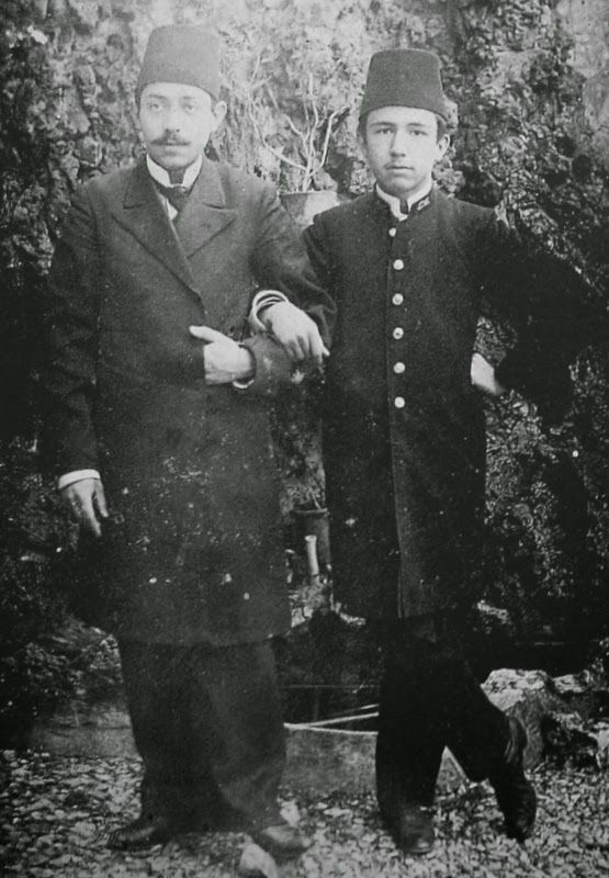 A highschool teacher and one of his pupils (in uniform).  Late-Ottoman era, c. 1900.