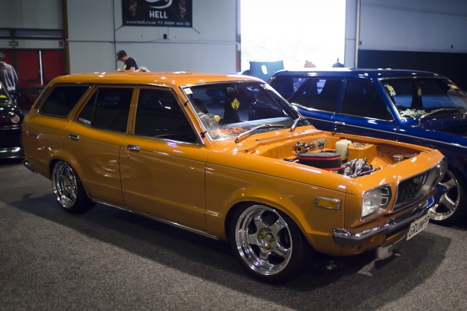 This Mazda 808 wagon had received a rotary conversion and looked great sitting on a set of Work Meisters.