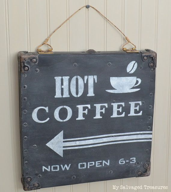 Hot Coffee Now Open 6-3. How to turn an old grungy carrying case lid into a cool faux chalkboard Hot Coffee sign. From MySalvagedTreasures.com