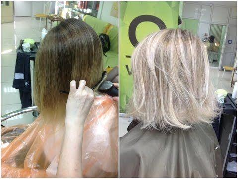 Осветление волос. Блондин // Lightening of hair. Blonde. - YouTube