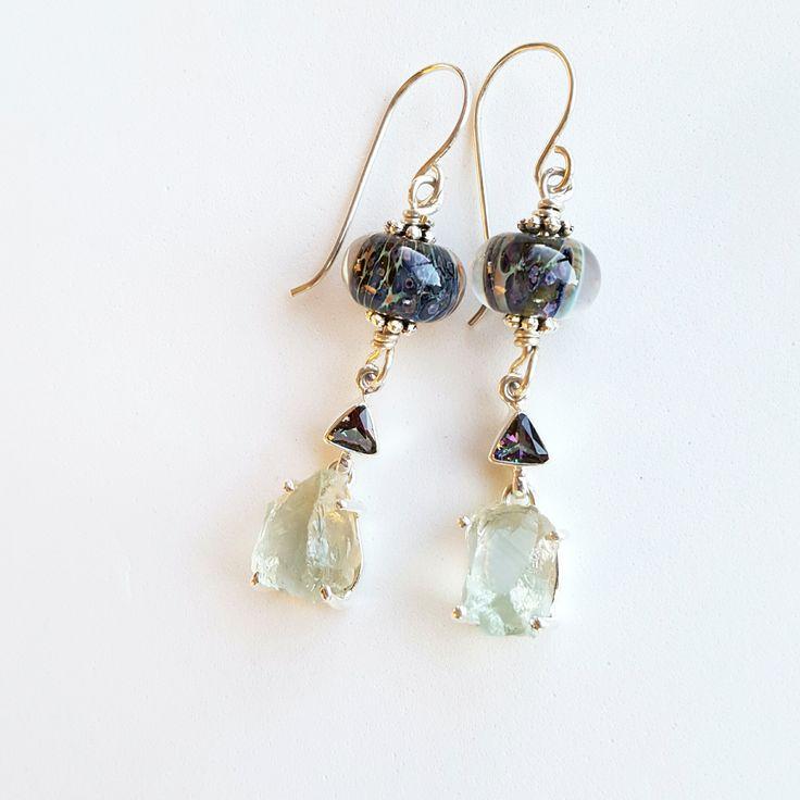 Green Amethyst and Rainbow Topaz Gemstone Artisan Glass Earrings, Sterling Silver, Amethyst, Dramatic Drop Earrings