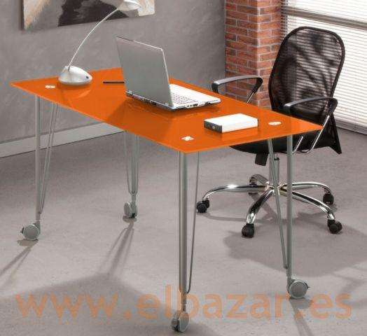 Mesa escritorio oficina wegla cristal naranja con ruedas - Mesas de escritorio ...