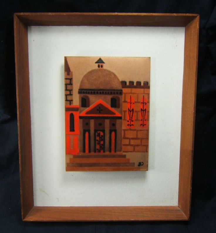 Judith Daner Mid Century Modern Framed Enamel on Copper Plaque Framed Art #JudithDaner