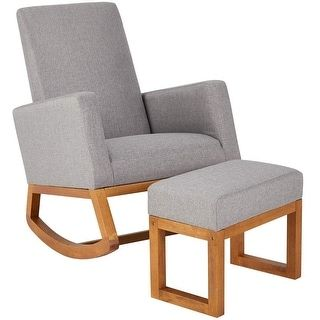 STURDY SOLID WOOD BASE: The frame of the chair is made of solid wood multi-layer board to ensure a safe structure, can carry up to 250 pounds, and provides strong support, so you can sit down with confidence. A wooden frame is also added in the middle of the base to further increase the stability of the glider rocker with ottoman. COMFORTABLE ROCKING EXPERIENCE:The swing function of the leisure chair can bring a soothing effect to people. Not only suitable for the elderly to sit on the chair… Glider Rocker With Ottoman, Glider Chair, Grey Armchair, Fabric Ottoman, Mid Century Chair, Foot Rest, Modern Chairs, Rocking Chair, Accent Chairs