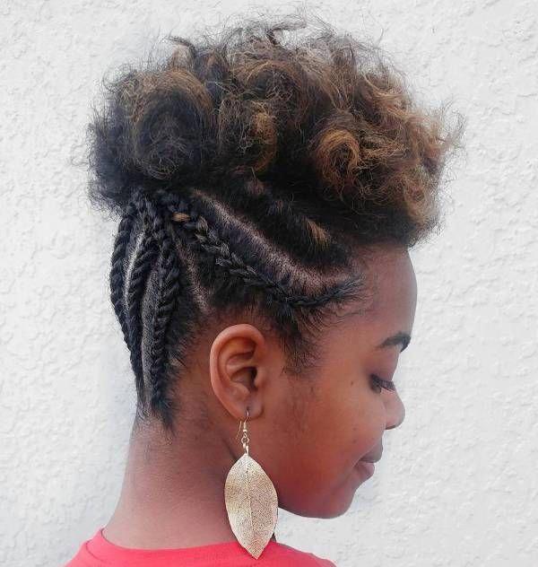Half Braided Updo For Short Natural Hair #Shorthairbraids